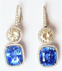 beautiful ear rings beautiful sapphire white gold and diamond earrings de louvois