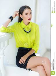 how to look happy portrait of the young woman with a sexual look stock photo image