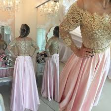 bg1024 gold pink prom dresses long sleeves crystals beaded off the