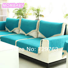 non slip cover for leather sofa 6pcs set upscale blue solid color cloth sofa cover towel leather