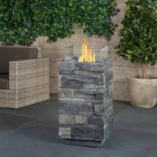 Real Flame Fire Pit - real flame gray ledgestone 14 in fiber cast concrete fire column