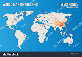 China World Map by Infographics Influence China Supply Electronics Vector Stock