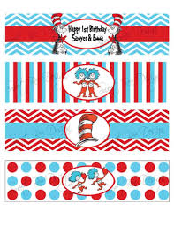 dr seuss thing 1 u0026 thing 2 birthday party or baby shower water
