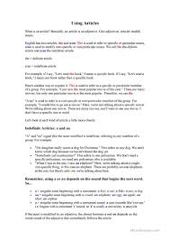 how to use definite and indefinite and no articles worksheet