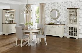 shabby chic dining room design idea with grey leather upholstered