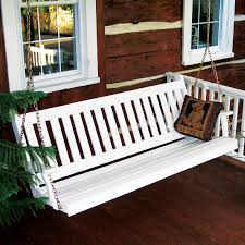 Patio Swing Springs Coral Coast Pleasant Bay White Curved Back Porch Swing With