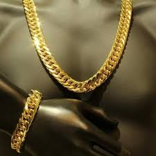 mens solid gold necklace images Mens jewelry set thick tight 18k yellow gold filled heavy solid jpg