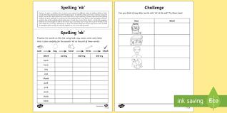 year 1 spelling practice u0027nk u0027 word endings homework activity