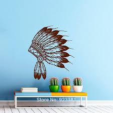 indian tribal headdress silhouette wall art sticker decal home diy