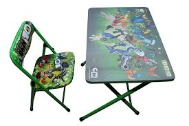kids fold up table and chairs happy kids foldable study table and chair ben 10 green amazon