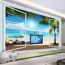 popular ocean wallpaper buy cheap ocean wallpaper lots from china custom 3d photo wallpaper ocean view 3d stereo window tv background wall mural wall painting living