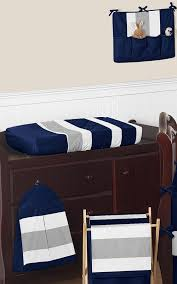 navy blue and gray stripe baby bedding 9pc crib set by sweet
