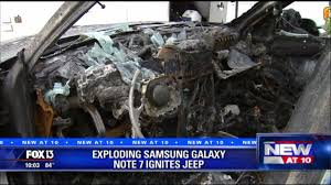 renault samsung sm6 modified jeep engulfed in flames by samsung galaxy note 7