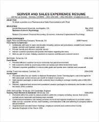 Travel Experience On Resume Resume Samples For Servers Resume Sample Food Server Dining Room