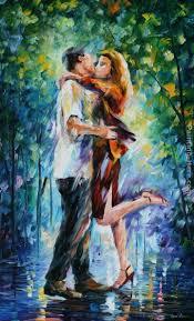 best painting leonid afremov rainy kiss painting best rainy kiss paintings for