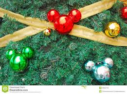 mickey mouse shaped ornaments as chistmas decorati stock photo