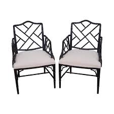 councill craftsman faux bamboo chinese chippendale chairs a pair