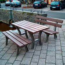 Recycled Plastic Patio Furniture Traditional Bench And Table Set Recycled Plastic Outdoor For