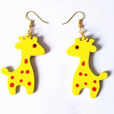 giraffe earrings new fashion carving wood giraffe earrings handmade earrings