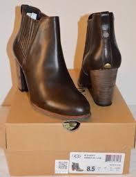 s ugg australia brown leather boots ugg australia poppy lodge brown leather booties boot stacked heel