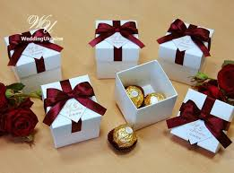 wedding party favor boxes wedding bonbonniere wedding favor boxes with burgundy
