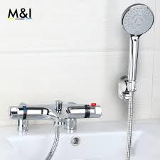 thermostatic bath filler promotion shop for promotional bathroom bathtub shower set torneira thermostatic modern widespread bathroom bathtub roman filler faucet with hand shower set