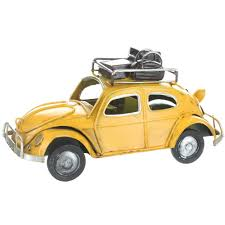 volkswagen yellow car vehicle retro retro vw style beetle with luggage on roof rack ebay