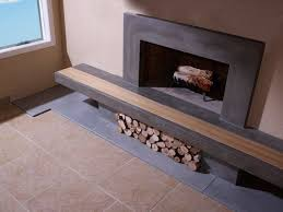 hand made concrete fireplace surround u0026 hearth with wood inlay by
