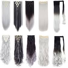 grey hair extensions fut silver grey hair extensions ponytail wrap around 7pcs 16