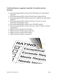 Practice Manager Resume Job Performance Evaluation Form Page 1 Medical Practice Manager