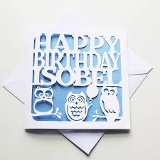 personalised owls birthday card by whole in the middle