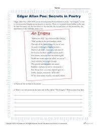edgar allan poe reading worksheet secrets in poetry