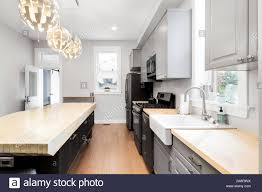 light wood kitchen cabinets with wood floors a large luxury kitchen in a chicago flat with grey cabinets