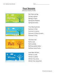 four seasons reading comprehension worksheet
