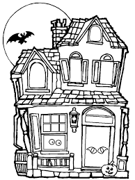 spooky haunted halloween house coloring netart