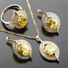 yellow necklace set images Shining yellow zircon stone white zircon jewelry set for women jpg