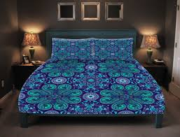 boho chic bedding duvet cover set purple teal mandala lace