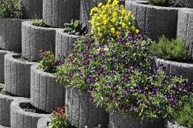 Concrete Planters Retaining Wall Ideas Concrete Planters As A Supporting Concrete