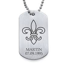 dog tag jewelry engraved fleur de lis dog tag necklace with engraving stainless steel