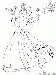 coloring page princess brushing her hair