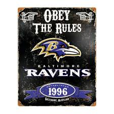 Baltimore Ravens Home Decor Amazon Com Party Animal Nfl Embossed Metal Vintage Baltimore