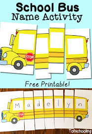 bus name activity with free printable totschooling