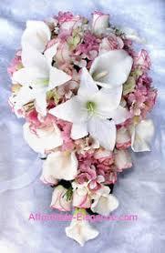 silk wedding bouquet pink cascade bridal bouquet roses calla lilies hydrangea silk