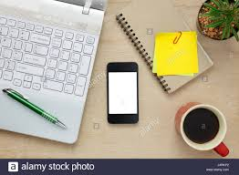 Office Desk Top View Top View Accessories Office Desk The Mobile Phone Note Stock Photo