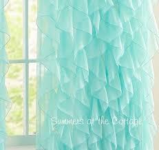 Teal Drapes Curtains Dreamy Ruffled Curtain Drape Panel Shabby Beach Cottage Chic Aqua Blue