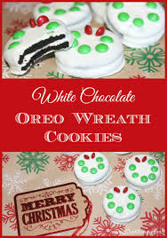 Decorating Christmas Wreath Cookies by White Chocolate Oreo Christmas Wreath Cookies Saving Our Money