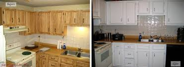 How To Paint Oak Kitchen Cabinets White by Painting Oak Kitchen Cabinets Before And After Kitchen Design 2017