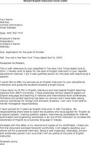 english instructor cover letter sample cover letter templates