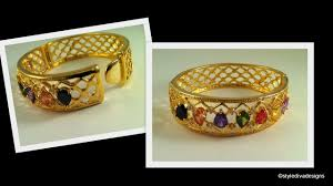 color bangle bracelet images Stylediva design zircon multi color stone studded gold bangle jpg