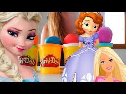 play doh surprise eggs barbie frozen sofia toys